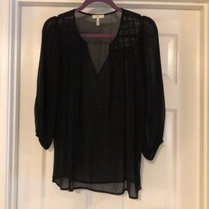 Joie black silk blouse